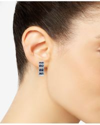 Macy's - Metallic Sapphire (1-5/8 Ct. T.w.) And Diamond (1/4 Ct. T.w.) Curved Drop Earrings In 14k White Gold - Lyst
