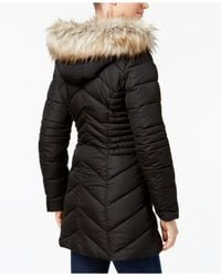 Laundry by Shelli Segal - Black Faux-fur-trim Quilted Puffer Coat - Lyst