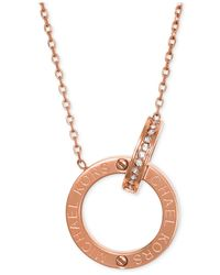 Michael Kors - Metallic Crystal Pavé Circle Necklace - Lyst