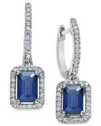 Macy's - Blue Sapphire (1-1/4 Ct. T.w.) And Diamond (1/4 Ct. T.w.) Earrings In 14k White Gold - Lyst