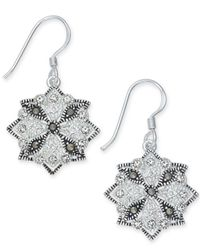 Macy's | Metallic Marcasite (1-1/3 Ct. T.w.) & Crystal Drop Earrings In Fine Silver-plate | Lyst