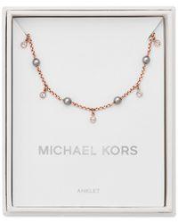 Michael Kors - Metallic Rose Gold-tone Crystal & Gray Imitation Pearl Ankle Bracelet - Lyst