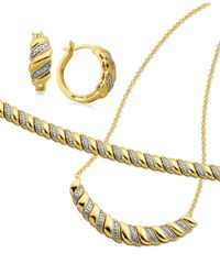 Macy's - Metallic Diamond Accent Twist Hoop Earrings, Collar Necklace And Link Bracelet Set In 18k Gold Over Silver-plate - Lyst