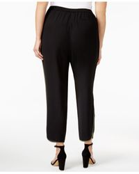 Nine West | Black Plus Size Crepe Straight-leg Pants | Lyst
