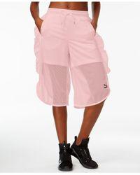 PUMA - Pink Xtreme Ruffled Mesh Shorts - Lyst