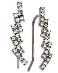 INC International Concepts - Metallic Silver-tone Crystal Ear Climbers - Lyst