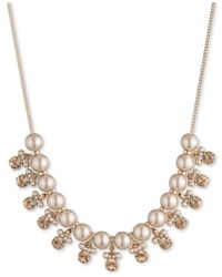 """Givenchy - Metallic Gold-tone Imitation Pearl & Crystal Collar Necklace, 16""""+ 3"""" Extender - Lyst"""