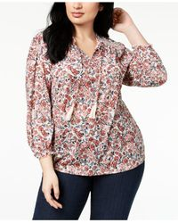 Style & Co. - Multicolor Plus Size Printed Embroidered Peasant Top, Created For Macy's - Lyst