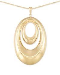 Macy's | Metallic Polished Double Oval Long Length Pendant Necklace In 14k Gold Vermeil | Lyst