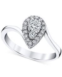 Macy's - Diamond Teardrop Halo Ring (1/2 Ct. T.w.) In 14k White Gold - Lyst