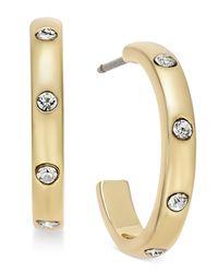kate spade new york - Metallic Gold-tone Crystal Studded J-hoop Earrings - Lyst