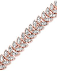 Macy's - Multicolor Diamond Accent Leaf Bracelet In 18k Rose Gold Over Brass - Lyst