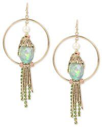 Betsey Johnson | Metallic Gold-tone Multi-stone Bird Drop Hoop Earrings | Lyst