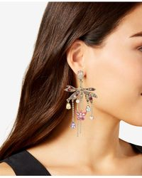 Betsey Johnson - Metallic Gold-tone Crystal & Pavé Butterfly Chandelier Earrings - Lyst