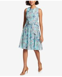 Tommy Hilfiger - Blue Paisley-print Fit & Flare Dress - Lyst