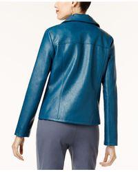Alfani - Blue Faux-leather Moto Jacket - Lyst