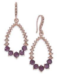 INC International Concepts - Rose Gold-tone Pink Pavé & Purple Stone Drop Earrings - Lyst