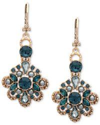 Marchesa - Blue Colored Crystal & Bead Flower Drop Earrings - Lyst