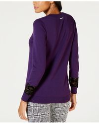 Michael Kors - Purple Michael Lace-inset Sweatshirt - Lyst