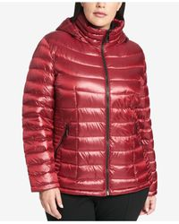 CALVIN KLEIN 205W39NYC - Red Packable Hooded Puffer Coat, Created For Macy's - Lyst