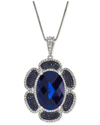 Macy's - Lab-created Blue Sapphire (16-5/8 Ct. T.w.) And White Sapphire (7/8 Ct. T.w.) Flower Pendant Necklace In Sterling Silver - Lyst
