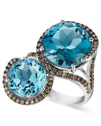 Le Vian - Blue Topaz (8-3/8 Ct. T.w.) And Chocolate Diamond (5/8 Ct. T.w.) 2 Stone Ring In 14k White Gold - Lyst