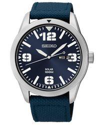 Seiko - Men's Solar Blue Nylon Strap Watch 43mm Sne329 for Men - Lyst