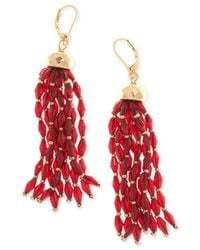 Nine West - Red Gold-tone Beaded Tassel Drop Earrings - Lyst
