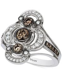 Le Vian - Metallic Chocolate And White Diamond Deco Ring (7/8 Ct. T.w.) In 14k White Gold - Lyst