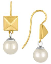 Majorica - Metallic Two-tone Imitation Pearl And Pyramid Drop Earrings - Lyst