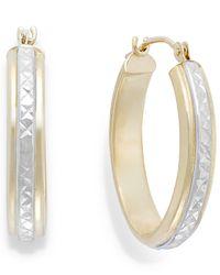 Macy's - Metallic Two-tone Diamond-cut Hoop Earrings In 10k Gold - Lyst