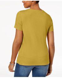 Karen Scott Yellow Henley T-shirt In Regular & Petite Sizes, Created For Macy's