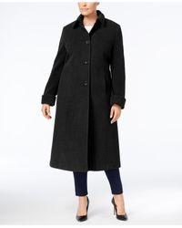 Jones New York - Black Plus Size Maxi Walker Coat - Lyst