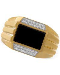 Macy's - Metallic Men's Onyx (11 X 7mm) & Diamond (1/6 Ct. T.w.) Ring In 10k Gold for Men - Lyst