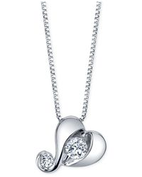 Proud Mom - Metallic Diamond Heart Pendant Necklace (1/7 Ct. T.w.) In 14k White Gold - Lyst