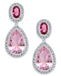 Danori | Pink Silver-tone Crystal Teardrop Drop Earrings | Lyst