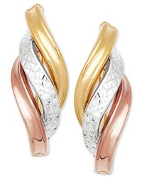 Macy's - Metallic Tri-color Twist Drop Earrings In 14k Gold, White Gold & Rose Gold - Lyst