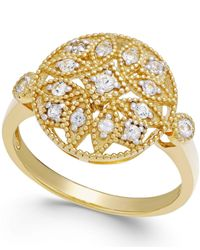 Macy's - Multicolor White Sapphire Filigree Ring In 14k Gold (1/4 Ct. T.w.) - Lyst