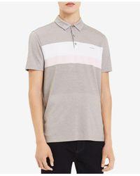 Calvin Klein - Gray Pieced Colorblocked Stripe Polo for Men - Lyst