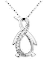 "Macy's - Metallic Diamond Infinity Penguin 18"" Pendant Necklace (1/10 Ct. T.w.) In Sterling Silver - Lyst"