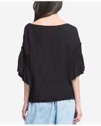 DKNY - Black Ruffled 3/4-sleeve T-shirt - Lyst