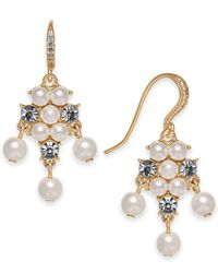 Charter Club - Metallic Gold-tone Imitation Pearl & Crystal Drop Earrings, Created For Macy's - Lyst