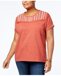 Style & Co. - Multicolor Plus Size Embroidered-yoke T-shirt - Lyst