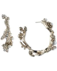 Marchesa - Metallic Gold-tone Crystal & Imitation Pearl Garden Hoop Earrings - Lyst