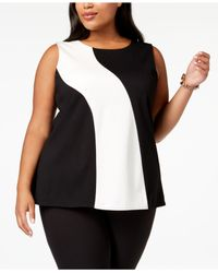 Alfani - Black Plus Size Colorblocked Sleeveless Top, Created For Macy's - Lyst