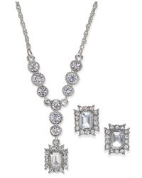 Charter Club - Metallic Silver-tone Crystal Pendant Necklace And Matching Stud Earrings Set - Lyst