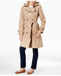 London Fog - Natural Petite Double-breasted Trench Coat - Lyst