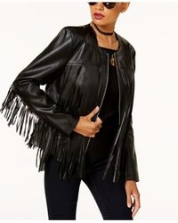 INC International Concepts - Black Leather-fringe Jacket - Lyst