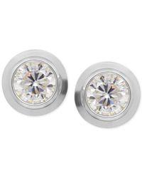 Macy's   Metallic Cubic Zirconia Bezel-set Stud Earrings In 14k Yellow, White Or Rose Gold   Lyst
