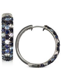 Effy Collection - Blue Multicolor Sapphire Large Hoop Earrings (4 Ct. T.w.) In Sterling Silver - Lyst